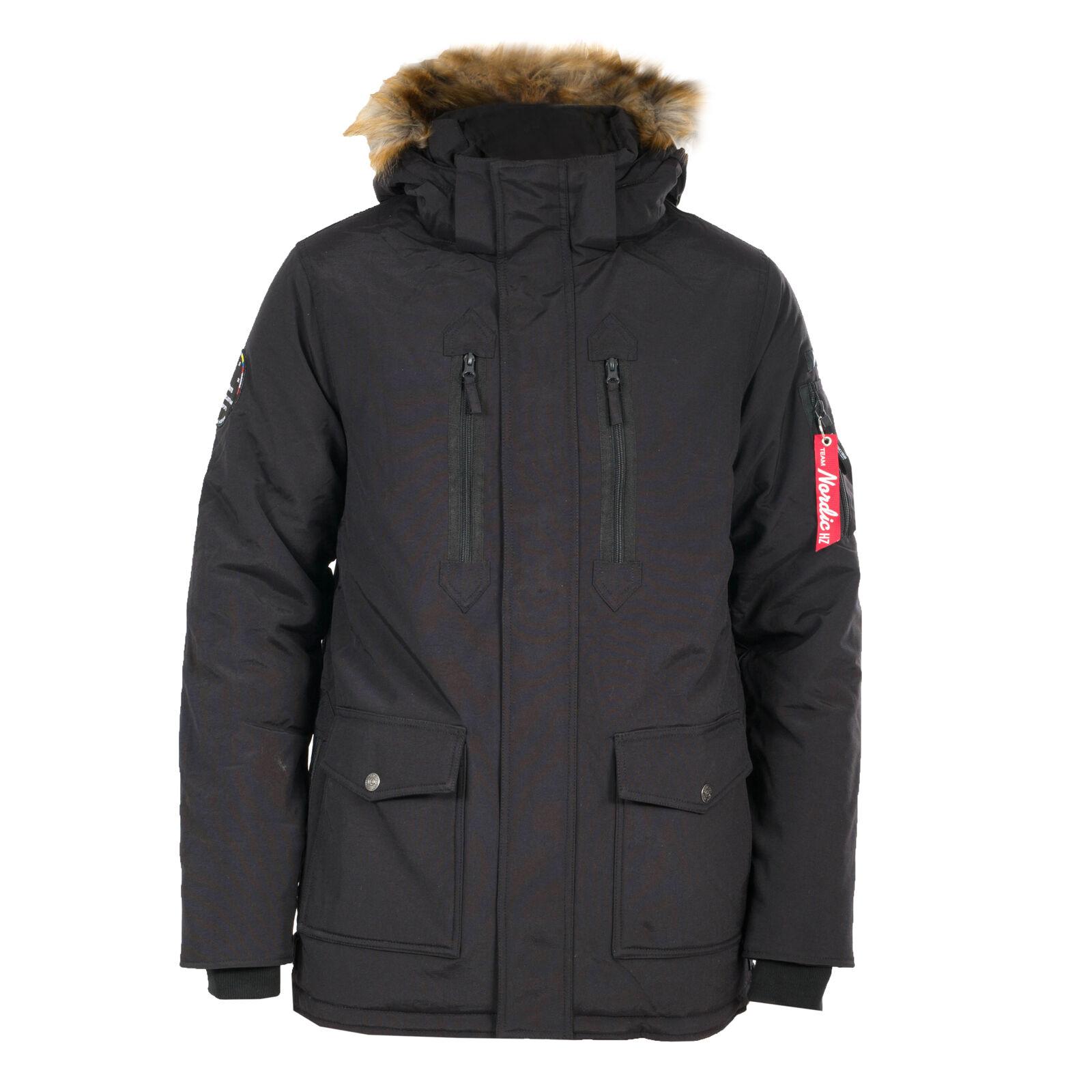 Ski- & Snowboard-Jacken Winterjacke Nordic lange Jacke für Herren abnehmbare Kapuze mit Reißverschluss Skisport & Snowboarding
